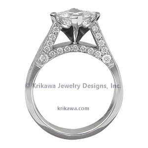 Mokume Cathedral Engagement Ring with Diamond Accents