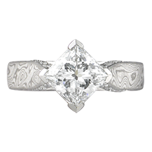 Mokume Cathedral Engagement Ring with Diamond Accents - top view