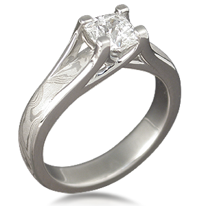 Custom Mokume Gane Engagement Ring