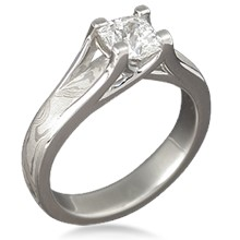 Mokume Cross Solitaire Engagement Ring