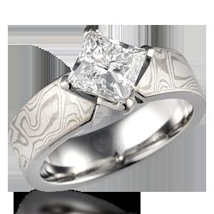 Mokume Princess Kite Engagement Ring