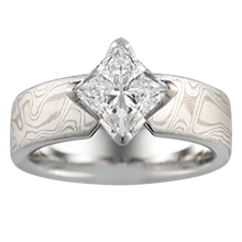 Mokume Princess Kite Engagement Ring - top view