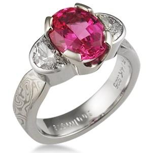 Mokume Three Stone Engagement Ring, Tapered, Oval & Half Moons