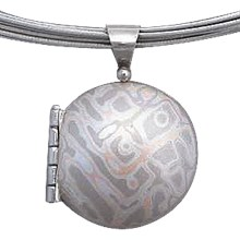 Round Mokume Locket