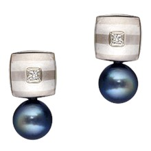 Mokume and Pearl Stud Earrings
