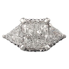 Theater Three Stone Pave Engagement Ring - top view