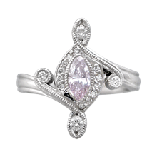 Marquise Pave Engagement Ring - top view