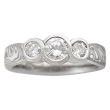 Three Stone Ring with Half Carat Diamond and Two Quarter Carat Diamonds - top view