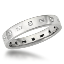 Modern Flush Diamond Wedding Band - top view