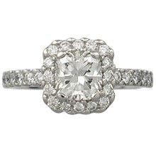 Brilliant Halo Pave Engagement Ring - top view