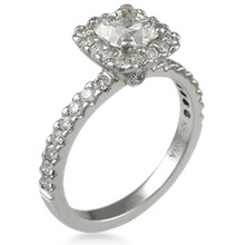 Brilliant Halo Pave Engagement Ring
