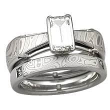 Mokume Bridge Engagement Ring with Mokume Block Band