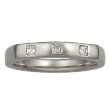 Princess Trio Contoured Wedding Band - top view