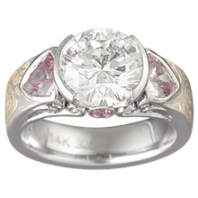 Mokume Carved Curls Three Stone Engagement Ring - top view