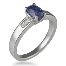 Three Stone Flush Baguette Engagement Ring