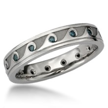 Rolling Wave Eternity Wedding Band with Diamonds