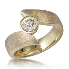 Mokume Twist Engagement Ring - top view