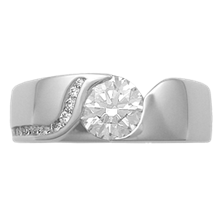 Modern Wave Engagement Ring with Diamond Channel - top view