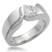 Modern Wave Engagement Ring with Diamond Channel