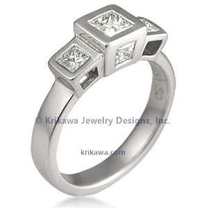 Modern Cube Engagement Ring