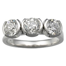 Modern Three Stone Engagement Ring, Round Bezels - top view