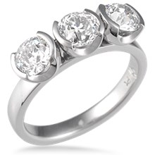 Modern Three Stone Engagement Ring, Round Bezels