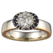 Sun and Moon Engagement Ring - top view