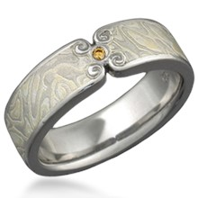 Mokume Wedding Band with Curls