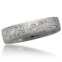 Mokume Wedding Band with Scattered Diamonds, 0.15 CTW