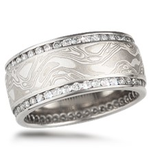 Mokume Double Diamond Channel Wedding Band