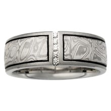 Mokume Wedding Band with Vertical Diamond Channel - top view