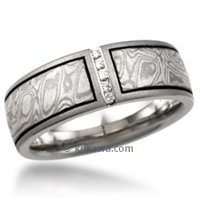 Mokume Wedding Band with Vertical Diamond Channel
