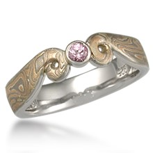 Light Curls Mokume Engagement Ring