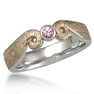 Light Curls Mokume Engagement Ring