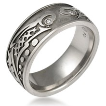Tribal Fish Eternity Wedding Band
