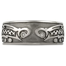 Tribal Fish Eternity Wedding Band - top view
