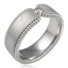 Modern Millegrain Curls Wedding Band