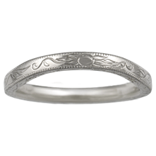 Antique Style Leaf Wedding Band - top view