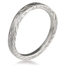 Antique Style Leaf Wedding Band
