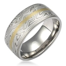 Mokume Wedding Band with Flush Stripe
