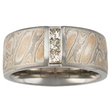 Mokume Wedding Band with Vertical Princess Channel - top view