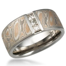 Mokume Wedding Band with Vertical Princess Channel