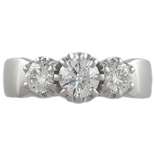 Apollo Three Stone Engagement Ring - top view