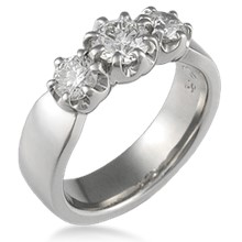 Blossom Three Stone Engagement Ring