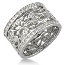 Double Delicate Leaf Diamond Eternity Wedding Band - top view