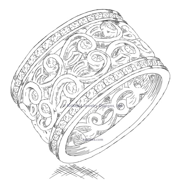 Double Delicate Leaf Diamond Eternity Wedding Band
