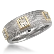 Deluxe Mokume King's Crown Wedding Band
