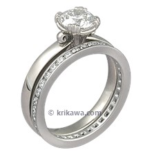 Carved Leaf Engagement Ring Bridal Set with Diamond Channel Band