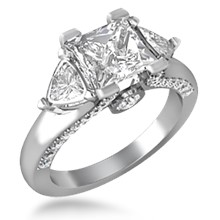 Flame Three Stone Engagement Ring