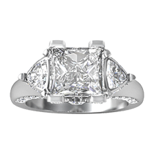 Flame Three Stone Engagement Ring - top view